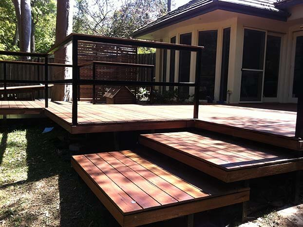 front yard landscape and timber decking